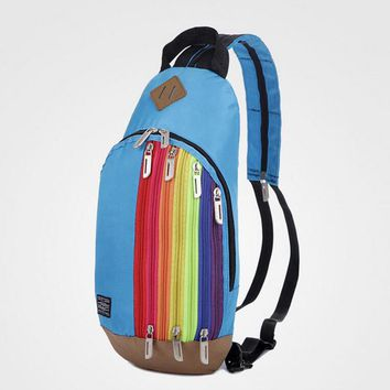 Shunvbasha Rainbow Backpack Women Bag Dropship Fashion Young Ladies Teenager Students Colorful Striped Zipper Small School Bag