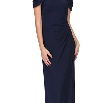Navy Blue Cold-Shoulder Floor Length Formal Dress Ruched