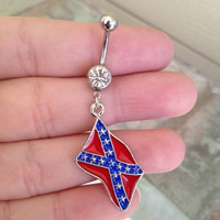 Rebel Flag Belly Ring