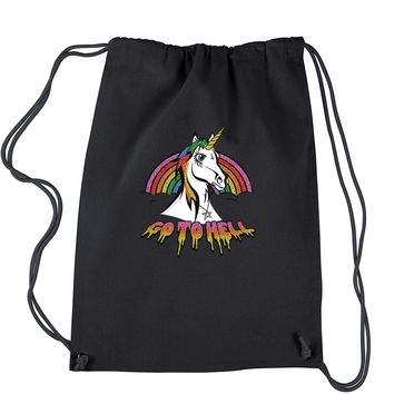 Unicorn Go To Hell Glitter Drawstring Backpack
