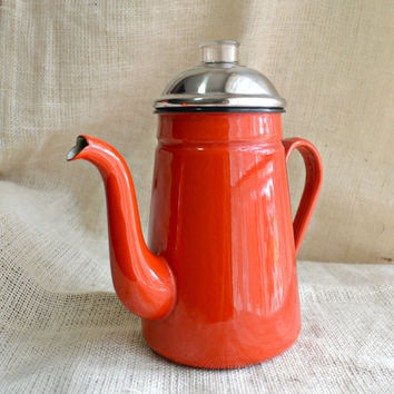 Red enamel coffee pot // Vintage Red Enamel Coffee Pot / Enamel Percolator