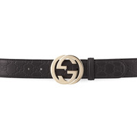 G-Adjustable Logo Leather Belt, Black - Gucci - Black