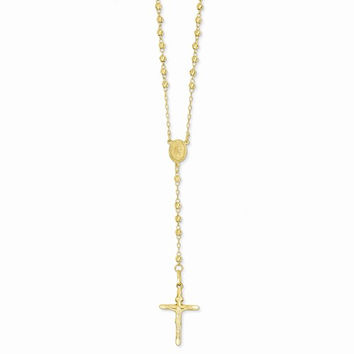 14k Yellow Gold 24 inch Beaded Rosary Necklace