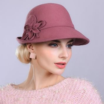 Woman Autumn And Winter Party Formal Hat England Fashion Elengant Irregular 100% Wool Felt Hats