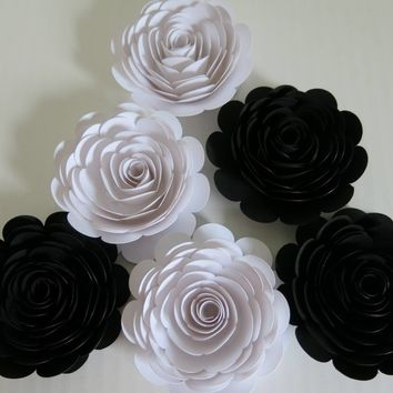 "Classic Black and White Wedding Roses, 6 Large Paper Flowers, 3"" blossoms, Modern Bridal Party Gift, Bridesmaid Bouquet DIY, Elegant Centerpiece"
