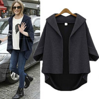 Solid 3/4 Sleeves Cardigan Batwing Plus Size Coat