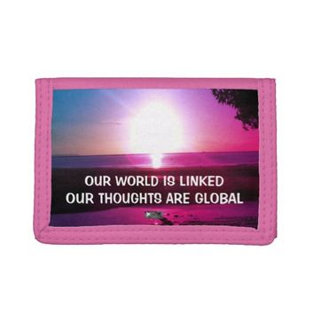 Global Photo Quote by Kat Worth Tri-fold Wallets