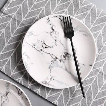 8 inch Marble pattern porcelain plate ceramic Dinner Plate tableware dinner set marble dinnerware
