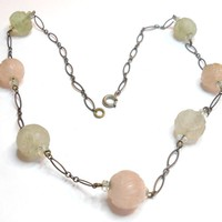 Art Deco Era Carved Pink & Green Quartz Sterling Necklace