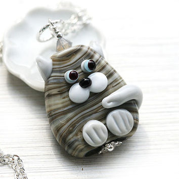 Tabby grey Cat Pendant, Kitten, Tabby Cat Jewelry, Lampwork glass Cat, Adoptable, Cat lover gift, Pet Adoption, Cat lady