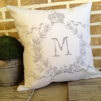 French Crown with Wreath Monogrammed White Linen with Gray Pillow - Insert Included