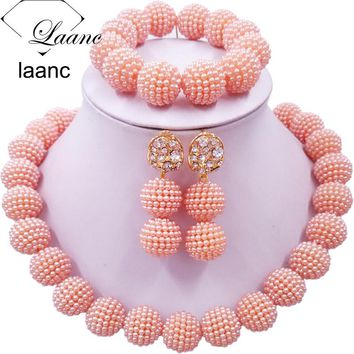 Laanc Peach African Beads Jewelry Set for Nigerian Wedding Simulated Pearl Necklace and Earrings SP1R004