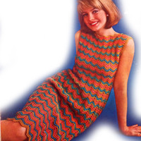 1960 Retro Crochet Ripple Dress Pattern | Los Angeles Needlework