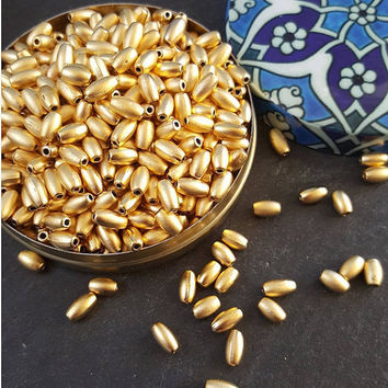 30 Oval Rice Beads - 22k Matte Gold Plated Brass