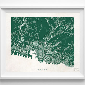 Genoa, Italy, Italian, Print, Map, Poster, State, City, Street Map, Art, Decor, Town, Illustration, Room, Wall Art, Customize, Dorm, Bedroom