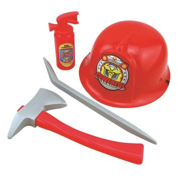 8c23abeb591 Fireman Costume Firefighter Role Play Boys Toy Hat Axe Crowbar Fire  Extinguisher Set