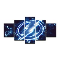 Tampa Bay Lightning Bolts Hockey 5 HD Art Print Canvas Art Wall Framed UNframed