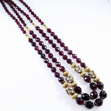 Red Faceted Glass and Rhinestone Long Necklace Ellelle Italy Jewelry