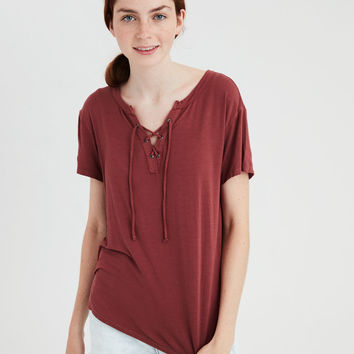 AE Soft & Sexy Lace-Up T-Shirt, Rust