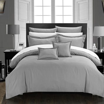 Chic Home 5 Piece Kanya Down Alternative Jacquard Striped Comforter Set, Bedding Basics, Twin, Silver