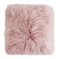 "Eightmood Mongolian Sheep Fur Decorative Pillow, 16"" x 16"" 