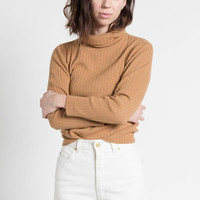 Vintage 90s Camel Brown Ribbed Knit Escada Turtleneck Sweater | S