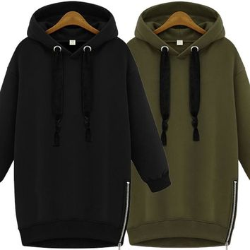 KPOP BTS Bangtan Boys Army New Black  Hoodies Oversized Women Sweatshirt Casual Hoodie Dress Long Sweatshirt Pullover Female Winter Coat AT_89_10