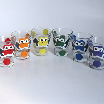 Yoshi Egg Shot Glasses Set of 6 Rainbow Hand by BasementInvaders