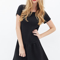 FOREVER 21 Textured Drop Waist Dress Black