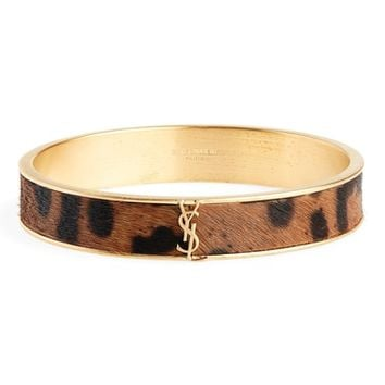 Saint Laurent Leopard Look Genuine Calf Hair Bangle Bracelet | Nordstrom