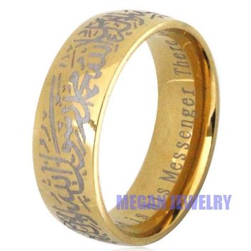 muslim allah Shahada stainless steel ring for women men , islam Arabic God Messager Gift & jewelry