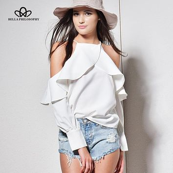 Bella Philosophy  spring summer halter neck cami cold off shoulder ruffles long-sleeved women chiffon blouse shirt