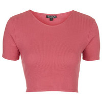 Wide Cotton Ribbed Crop Top - Bright Pink