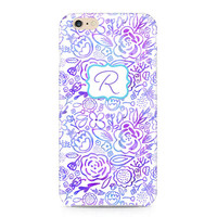 Pink and Purple Flowers Phone Case, Shabby Chic Phone Case, Monogram Phone Cover, Floral Phone Case, iPhone 6S, Samsung Galaxy S6