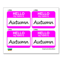 Autumn Hello My Name Is - Sheet of 4 Stickers