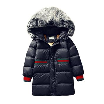 girl winter coat Flannel lining larger hooded warm padded cotton kids jacket Suitable for extremely cold weather