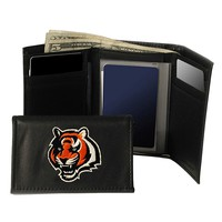 Cincinnati Bengals Trifold Leather Wallet (Orange)