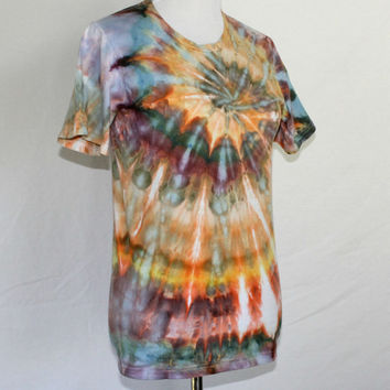 Mens Tie Dye, Size Small Tie Dye Shirt, Brown Tie Dye T-Shirt, Tye Dye Top, Unizex Size Small Tie Dye Shirt