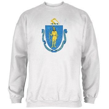 Born and Raised Massachusetts State Flag Mens Sweatshirt