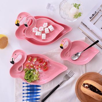 1PC Flamingos Series Pink 3D Creative Ceramic Plate Snacks Dried Fruit Plate Fruit Bowl Dessert Plate Bone China Dinnerware