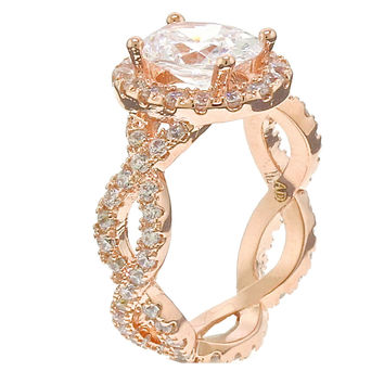 4CT Oval Halo Rose Gold Plated Cubic Zirconia CZ Infinity Band Engagement Ring