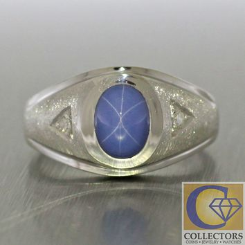 Vintage Art Deco Style 14k Solid White Gold Synthetic Star Sapphire Diamond Ring