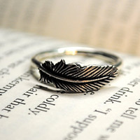 Silver Feather Ring Size 7