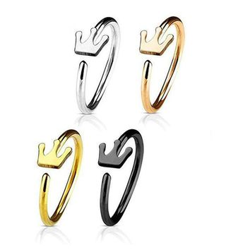 ac PEAPO2Q New Fashion Crown Shape Hoop Simple Nose Ring Stainless Steel Body Piercing Jewelry For Women Gift