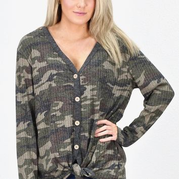 Camo Ribbed Button Down + Tie Front L/S {Olive}