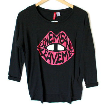 H&M Love Me and Leave Me Tacky Ugly Super Lightweight Sweater Shirt