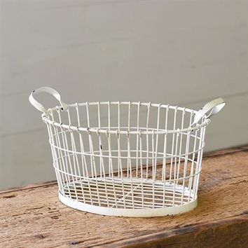 Distressed White Oval Handled Wire Basket