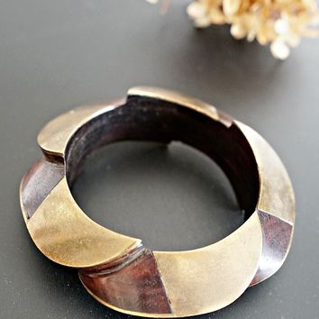 Vintage 1980s Wood + Brass Inlay Cuff Bracelet