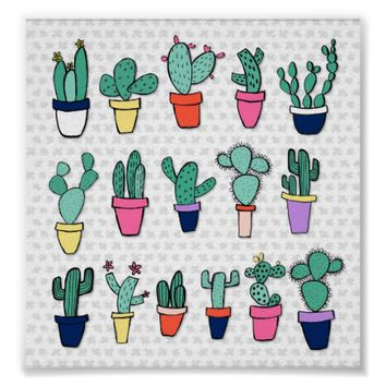 Adorable Colorful Cacti Illustration Poster