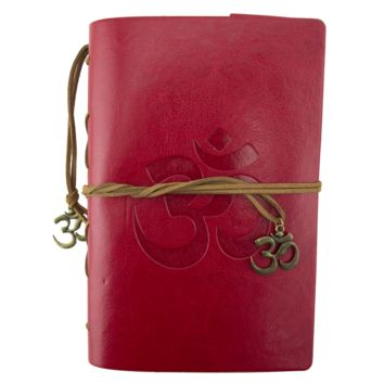OM Symbol Red Leather Journal Planner Organizer